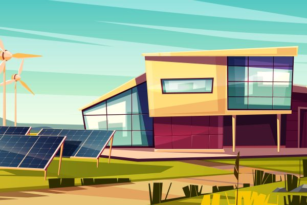 Energy independent, efficient house cartoon vector concept. Modern cottage with solar panel and wind turbine generator illustration. Power home with renewable energy. Feed-in, green electricity tariff